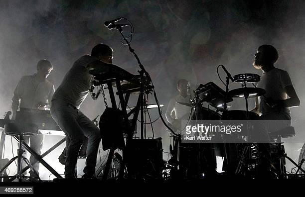 Musicians Ryan Smith Dan Snaith John Schmersal and Brad Weber of Caribou perform onstage during day 1 of the 2015 Coachella Valley Music Arts...