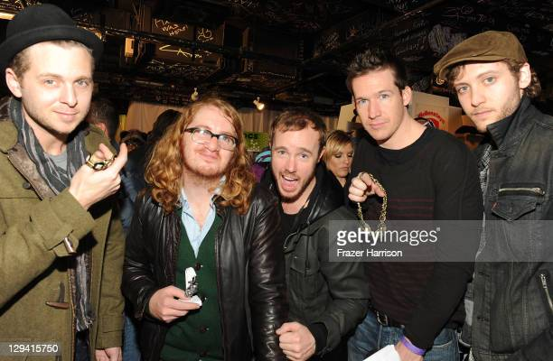 Musicians Ryan Tedder Drew Brown Eddie Fisher Zach Filkins and Brent Kutzle stops by lia sophia at The Samsung Galaxy Tab Lift on January 21 2011 in...