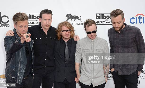 Musicians Ryan Tedder Zach Filkins Eddie Fisher Drew Brown and Brent Kutzle of OneRepublic arrive at the 2014 Billboard Music Awards at the MGM Grand...