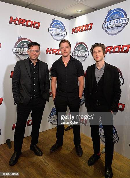 Musicians Sam Fogarino Paul Banks and Daniel Alexander Kessler of Interpol attend day two of the 25th annual KROQ Almost Acoustic Christmas at The...