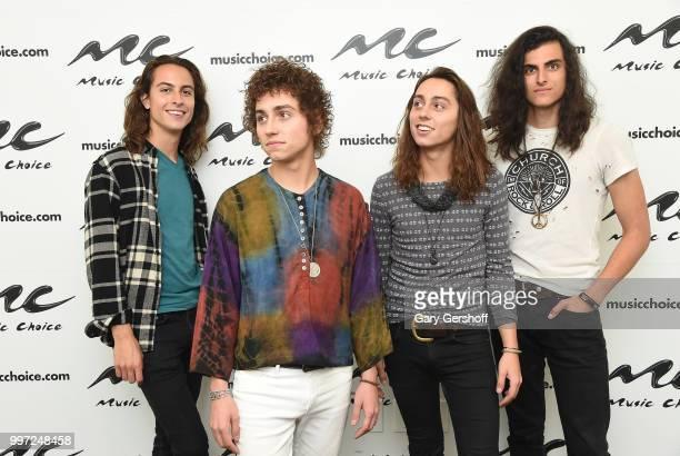 Musicians Sam Kiszka Josh Kiszka Jake Kiszka and Danny Wagner of the rock band Greta Van Fleet visit Music Choice on July 12 2018 in New York City