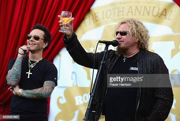 Musicians Sammy Hagar and Billy Morrison attend the 2014 Classic Rock Awards Launch Party at British Consul Generals Residence on August 13 2014 in...