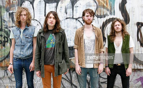 Musicians Samuel Shea Matt Stevenson Jack Collins and Ethan Snyder of Spires pose prior to performing during the 2013 Northside Festival at the...