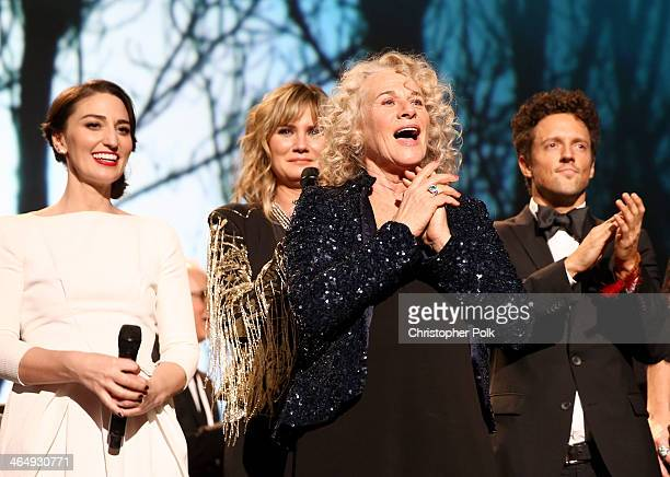Musicians Sara Bareilles and Jennifer Nettles honoree Carole King and musician Jason Mraz perform onstage at 2014 MusiCares Person Of The Year...