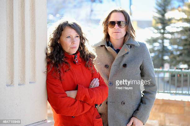 Musicians Sarah Lee Guthrie and Johnny Irion pose on day 7 of the ASCAP Music Cafe at the Sundance ASCAP Music Cafe during the 2014 Sundance Film...
