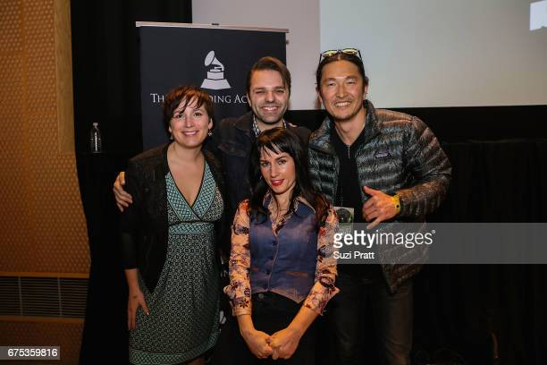 Musicians Sarah Shannon Andrew Joslyn Astra Elane and Daniel Pak pose for a photo at the GRAMMYPro Songwriter's Summit at Museum of Pop Culture on...