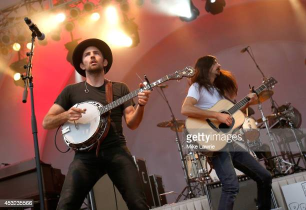 Musicians Scott Avett and Seth Avett of the Avett Brothers perform at the Toledo Zoo on August 5 2014 in Toledo Ohio