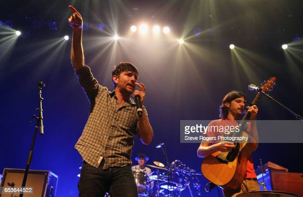 Musicians Scott Avett and Seth Avett of The Avett Brothers perform onstage at the Avett Brothers music showcase during 2017 SXSW Conference and...