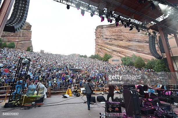 Musicians Scott Metzger Dave Dreiwitz Joe Russo Tom Hamilton and Marco Benevento of Joe Russo's Almost Dead performs at Red Rocks Amphitheatre on...