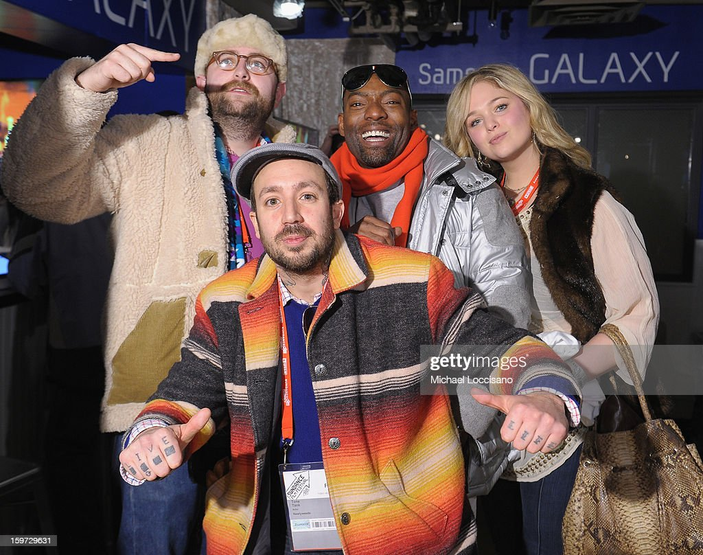 Musicians Scott Thorough and Tone Tank with actor Hassan Johnson and Andrea Horblitt attend Day 2 of Samsung Galaxy Lounge at Village At The Lift 2013 on January 19, 2013 in Park City, Utah.