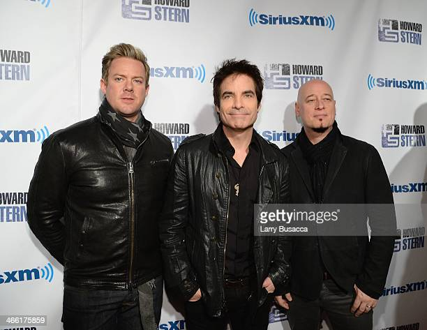 Musicians Scott Underwood Pat Monahan and Jimmy Stafford of the band Train attend 'Howard Stern's Birthday Bash' presented by SiriusXM produced by...
