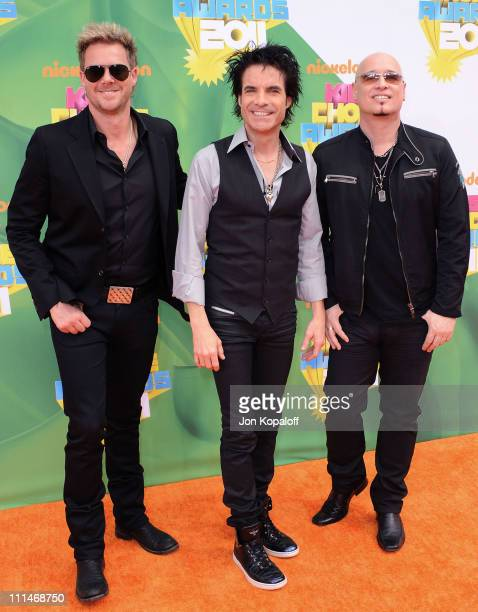 Musicians Scott Underwood Patrick Monahan and Jimmy Stafford of the band Train arrive at the Nickelodeon's 2011 Kids' Choice Awards at USC Galen...