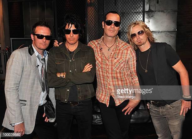 Musicians Scott Weiland Dean DeLeo Robert DeLeo and Eric Kretz of Stone Temple Pilots visit fuse Studios on May 20 2010 in New York City