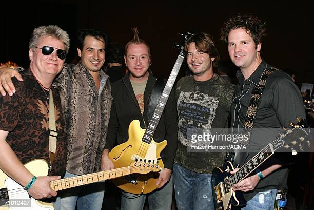 PRICING*** Musicians Scotty Wray Ron D'Argenio Aden Bubeck Keith Zebroski and Alex Weeden pose backstage during the Academy Of Country Music New...