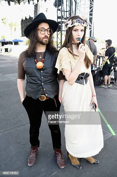 Musicians Sean Lennon and Charlotte Kemp Muhl of The Ghost of a Saber Tooth Tiger pose onstage during day 1 of the 2015 Coachella Valley Music Arts...