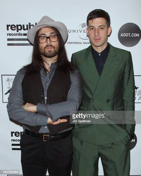 Musicians Sean Lennon and Mark Ronson attend the 2013 Amy Winehouse Foundation Inspiration Awards and Gala at The Waldorf=Astoria on March 21 2013 in...