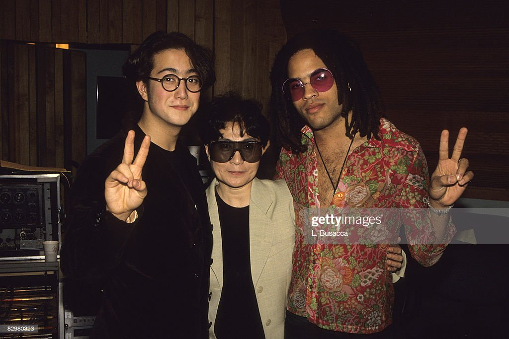Musicians Sean Lennon, Yoko Ono and Lenny Kravitz attend the 1991 recording of 'Give Peace a Chance'.