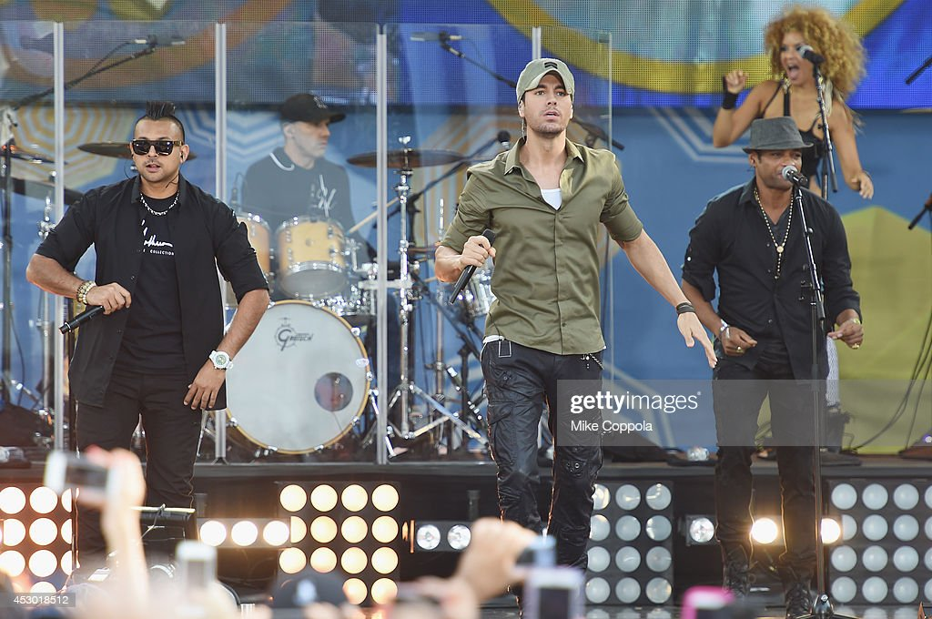 Musicians Sean Paul, Enrique Iglesias, and Descemer Bueno perform On ABC's 'Good Morning America' at Rumsey Playfield, Central Park on August 1, 2014 in New York City.