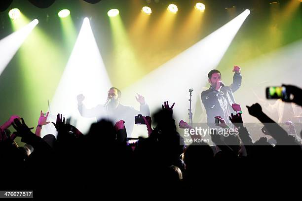 Musicians Sebu Simonian and Ryan Merchant of Capital Cities performs live at the Roxy on February 28, 2014 in Los Angeles, California.