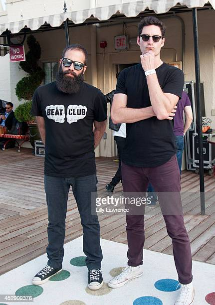 Musicians Sebu Simonian and Ryan Merchant of Capital Cities pose for a portrait at ALT 98.7FM Penthouse Party presenting Capital Cities in concert at...