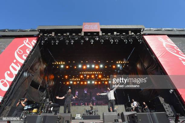 Musicians Sebu Simonian and Ryan Merchant of the band Capital Cities perform at Coca-Cola Music during the NCAA March Madness Music Festival 2017 on...