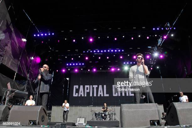 Musicians Sebu Simonian and Ryan Merchant of the band Capital Cities perform at the NCAA March Madness Music Festival 2017 on April 1, 2017 in...