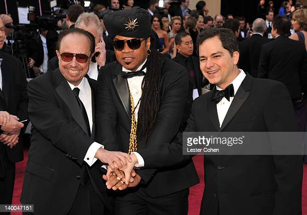 Musicians Sergio Mendes Carlinhos Brown and guest arrive at the 84th Annual Academy Awards held at the Hollywood Highland Center on February 26 2012...