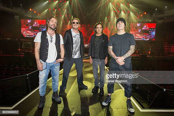 Musicians Sergio Vallin Fher Olvera Juan Calleros and Alex Gonzalez of Mana pose on stage during their final dress rehearsal for the Latino Power...