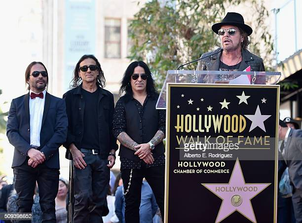 Musicians Sergio Vallin Juan Calleros Alex Gonzalez and Fher Olvera of the Mexican rock band Maná attend a ceremony honoring Maná with the 2573rd...