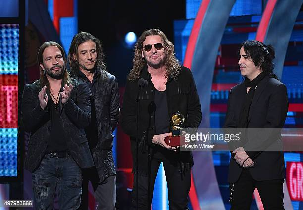 Musicians Sergio Vallin Juan Calleros Fher Olvera and Alex Gonzalez of Mana accept the Best Pop/Rock Album for 'Cama Incendiada' onstage during the...