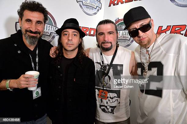 Musicians Serj Tankian Daron Malakian John Dolmayan and Shavo Odadjian of System of a Down attend day one of the 25th annual KROQ Almost Acoustic...