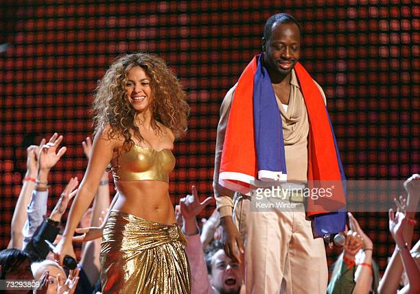 Musicians Shakira and Wyclef Jean perform Hips Don't Lie onstage at the 49th Annual Grammy Awards at the Staples Center on February 11 2007 in Los...