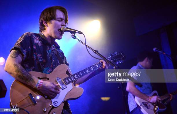 Musicians Shannon Inouye and Sean Thomas of the band Emerson Star perform onstage at The Echo on February 4 2017 in Los Angeles California