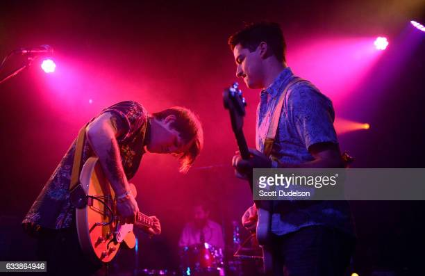 Musicians Shannon Inouye Colin Fahrner and Sean Thomas of the band Emerson Star perform onstage at The Echo on February 4 2017 in Los Angeles...
