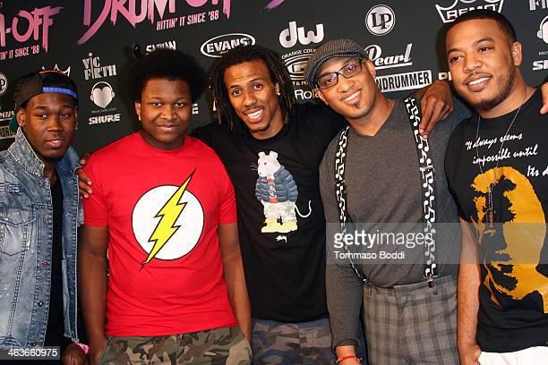 Musicians Shariq Tucker Josiah Maddox Dawud AasiyaBey Hilario Bell and Jonathan Burks attend the Guitar Center's 25th annual DrumOff grand finals...