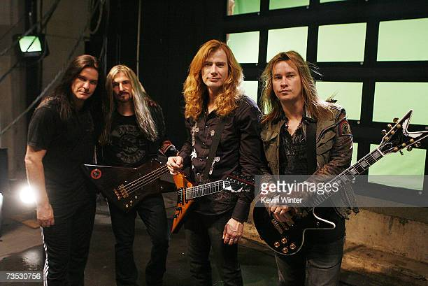 Musicians Shawn Drover James Lomenzo Dave Mustaine and Glen Drover pose at a video shoot for Megadeth for the song A Tout Le Monde on March 8 2007 in...