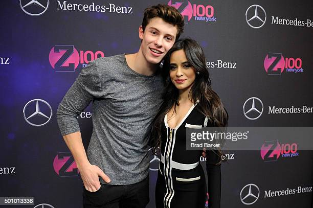 Musicians Shawn Mendes Camila Cabello of Fifth Harmony attend Z100's Jingle Ball 2015 at Madison Square Garden on December 11 2015 in New York City