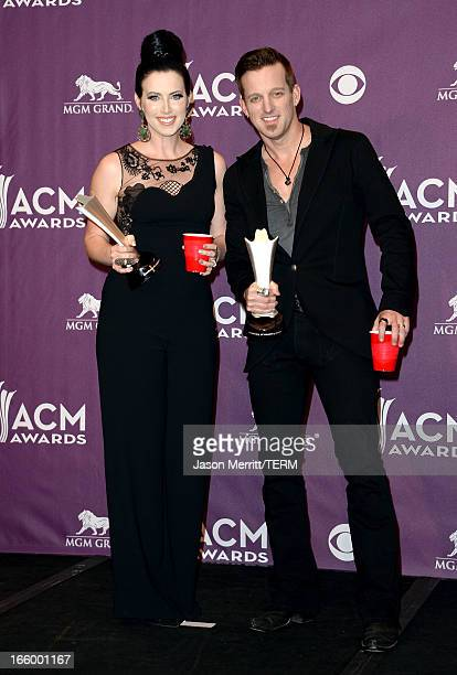 Musicians Shawna Thompson and Keifer Thompson of Thompson Square winners of Vocal Duo of the Year pose in the press room during the 48th Annual...