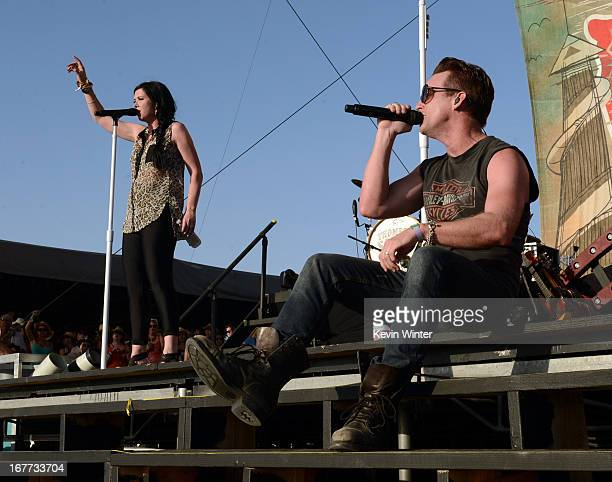 Musicians Shawna Thompson and Keifer Thompson of Thompson Square perform onstage during 2013 Stagecoach California's Country Music Festival held at...