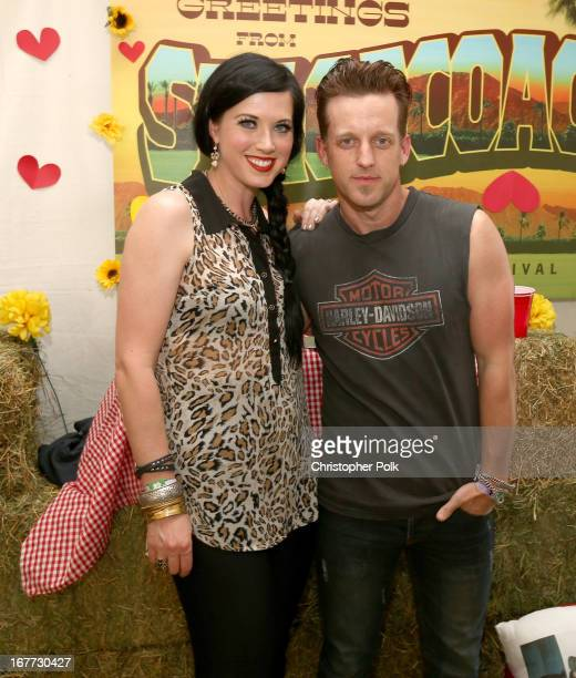 Musicians Shawna Thompson and Keifer Thompson pose during a Meet Greet during 2013 Stagecoach California's Country Music Festival held at The Empire...