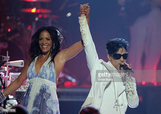 Musicians Sheila E and Prince perform onstage during the 2007 NCLR ALMA Awards held at the Pasadena Civic Auditorium on June 1 2007 in Pasadena...