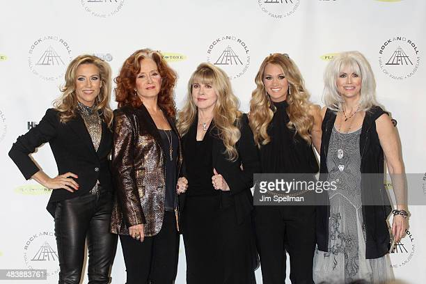 Musicians Sheryl Crow Bonnie Raitt Stevie Nicks Carrie Underwood and Emmylou Harris attend the 29th Annual Rock And Roll Hall Of Fame Induction...