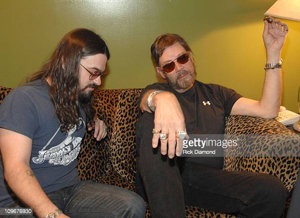 Musicians Shooter Jennings and Hank Williams Jr backstage during CMT Giants honoring Hank Williams Jr at the Gibson Amphitheatre on October 25 2007...