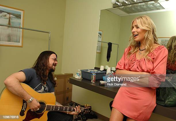 Musicians Shooter Jennings and Holly Williams backstage during CMT Giants honoring Hank Williams Jr at the Gibson Amphitheatre on October 25 2007 in...