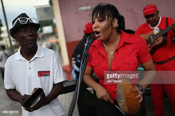 Musicians sing a song welcoming Pope Francis to Cuba as he spends his first night in the country on September 19 2015 in Santiago de Cuba Cuba Pope...