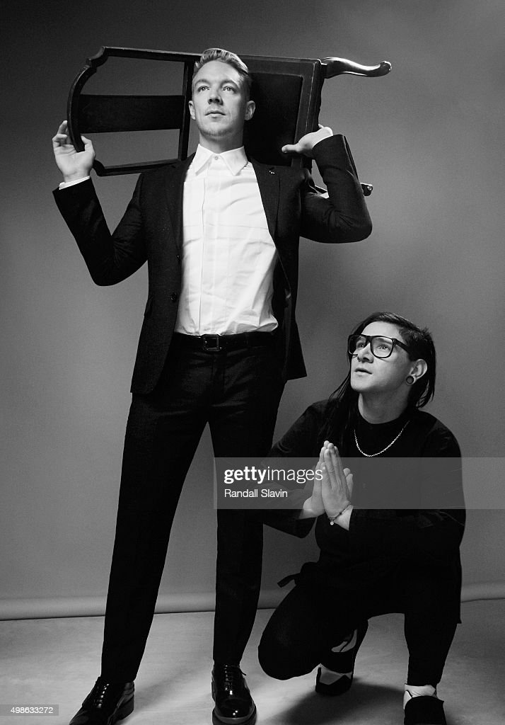 Musicians Skrillex and Diplo of Jack Ü pose for a portrait at the 2015 American Music Awards on November 22, 2015 in Los Angeles, California.