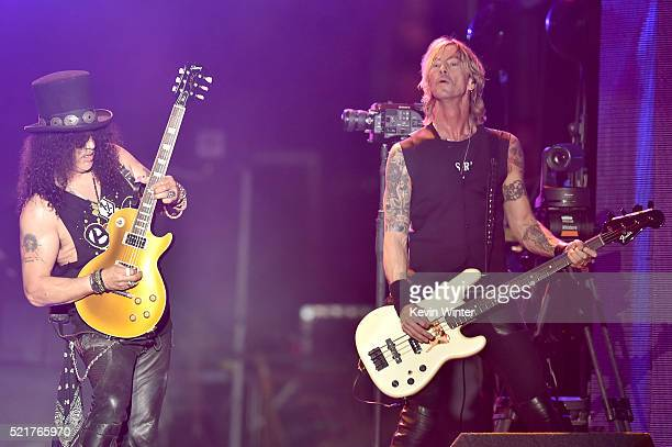 Musicians Slash and Duff McKagan of Guns N' Roses perform onstage during day 2 of the 2016 Coachella Valley Music Arts Festival Weekend 1 at the...
