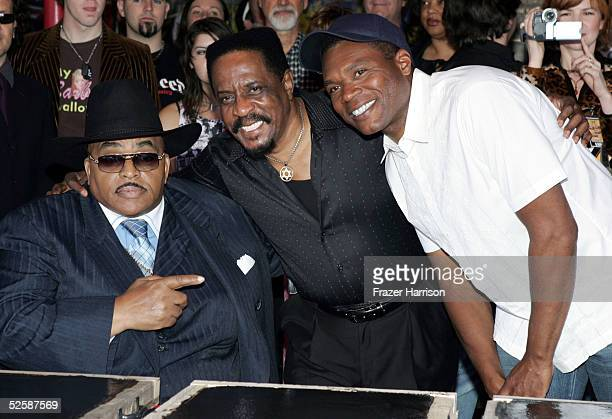 Musicians Solomon Burke, Ike Turner and Robert Cray stand together as they are inducted into the Hollywood Rockwalk along with Etta James and Muddy...