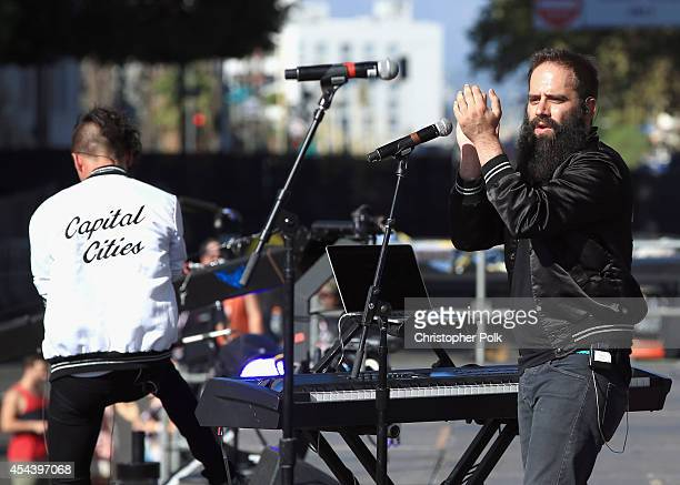 Musicians Spencer Ludwig and Sebu Simonian of Capital Cities perform on the Marilyn Stage during day 1 of the 2014 Budweiser Made in America Festival...