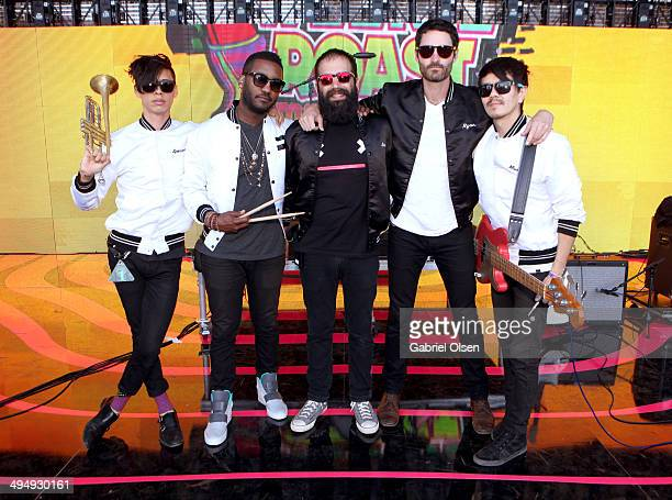 Musicians Spencer Ludwig, Channing Cook Holmes, Sebu Simonian, Ryan Merchant and Manuel Quintero of Capital Cities pose onstage during the 22nd...